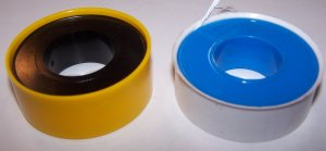 Yellow and white teflon plumbing tape